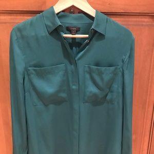 J.Crew Green Silk Shirt